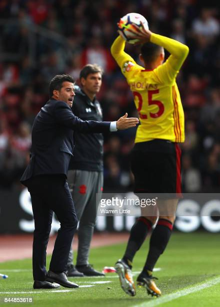 Marco Silva Manager of Watford watches on as Jose Holebas of Watford takes a throw during the Premier League match between Southampton and Watford at...