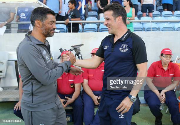 Marco Silva of Everton FC with Sergio Conceicao Head Coach of FC Porto before the start of the Algarve Cup match between FC Porto and Everton FC at...