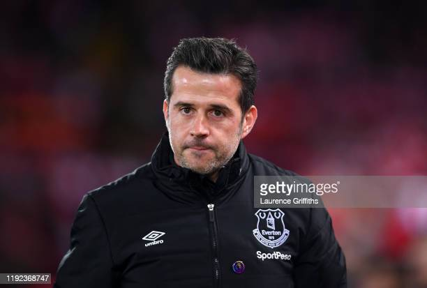 Marco Silva of Everton looks on during the Premier League match between Liverpool FC and Everton FC at Anfield on December 04, 2019 in Liverpool,...