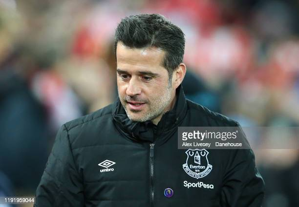 Marco Silva the manager of Everton looks on during the Premier League match between Liverpool FC and Everton FC at Anfield on December 04, 2019 in...