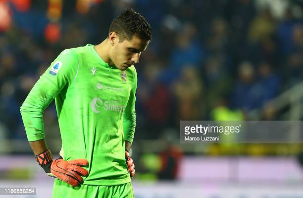Marco Silvestri of Hellas Verona shows his dejection at the end of the Serie A match between Atalanta BC and Hellas Verona at Gewiss Stadium on...