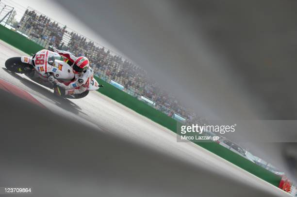 Marco Simoncelli of Italy and Repsol Honda Team rounds the bend during the end of the MotoGP race of the MotoGP of San Marino at Misano World Circuit...