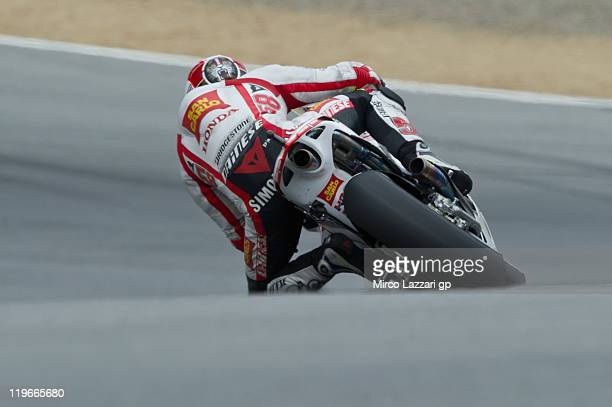 Marco Simoncelli of Italy and San Carlo Honda Gresin rounds the bend during the free practice of Red Bull US Grand Prix at Mazda Raceway Laguna Seca...
