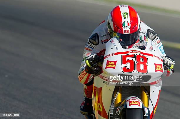 Marco Simoncelli of Italy and San Carlo Honda Gresini heads down a straight during the first test of the 2011 season at Ricardo Tormo Circuit on...