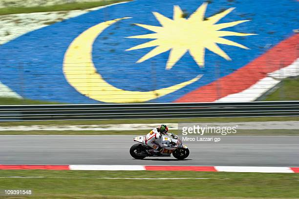 Marco Simoncelli of Italy and San Carlo Honda Gresini heads down a straight during the third day of testing at Sepang Circuit on February 24 2011 in...