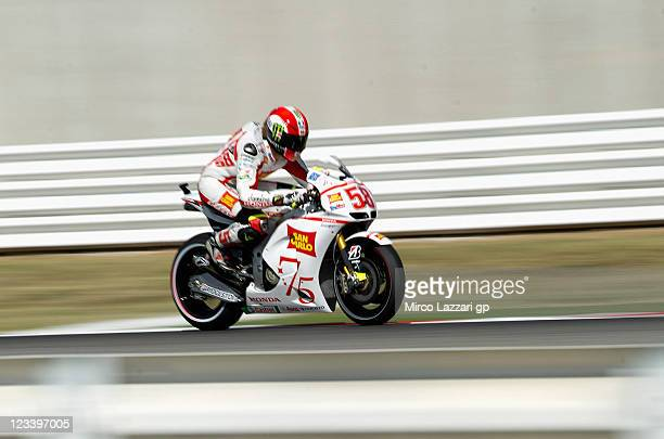 Marco Simoncelli of Italy and San Carlo Honda Gresini heads down a straight during the free practice of MotoGP of San Marino at Misano World Circuit...