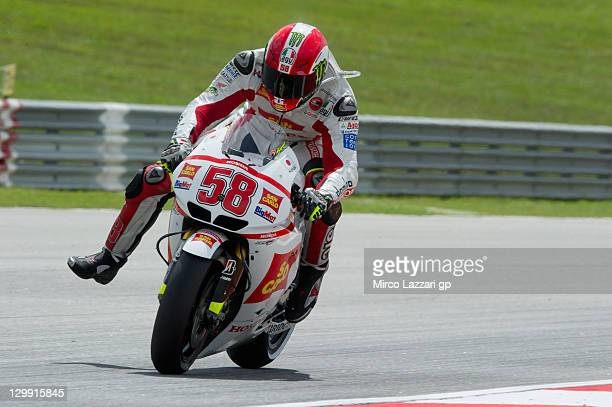 Marco Simoncelli of Italy and San Carlo Honda Gresini heads down a straight during the qualifying practice of MotoGP of Malaysia at Sepang Circuit on...