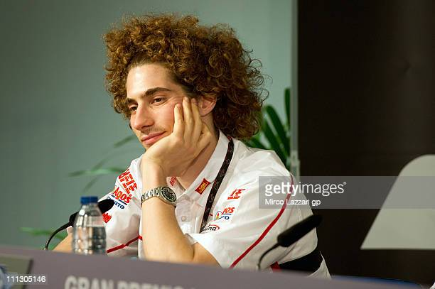 Marco Simoncelli of Italy and San Carlo Honda Gresini looks on during the press conference during preview events ahead of MotoGp Of Spain in Circuito...