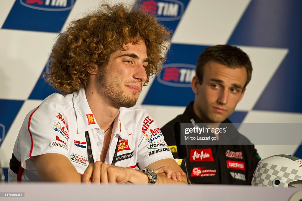 Marco Simoncelli of Italy and San Carlo Honda Gresini looks on during the press conference at the end of the qualifying practice of the MotoGP of Italy at Mugello Circuit on July 2, 2011 in Scarperia near Florence, Italy.