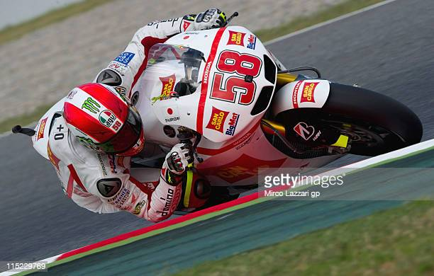 Marco Simoncelli of Italy and San Carlo Honda Gresini rounds the bend during the qualifying practice of MotoGp Of Catalunya at Circuit de Catalunya...