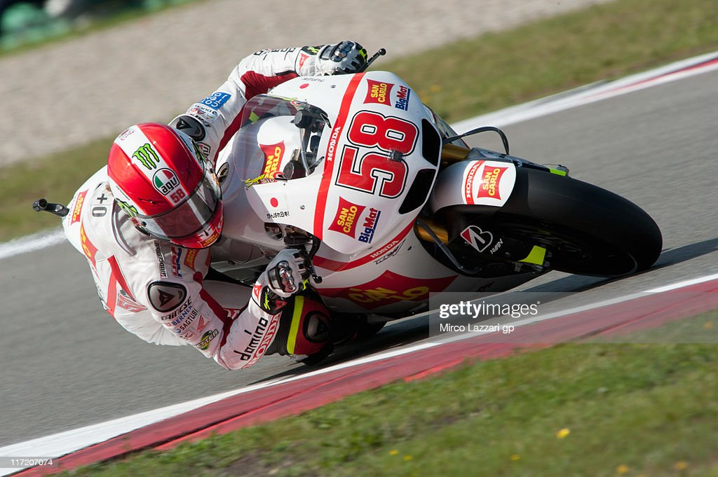 Marco Simoncelli of Italy and San Carlo Honda Gresini rounds the bend during the qualifying practice of MotoGP of Netherlands at TT Circuit Assen on June 24, 2011 in Assen, Netherlands.