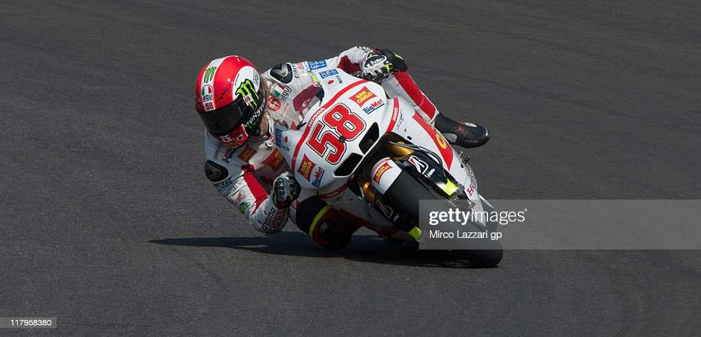 Marco Simoncelli of Italy and San Carlo Honda Gresini rounds the bend during the free practice of MotoGP of Italy at Mugello Circuit on July 2, 2011 in Scarperia near Florence, Italy.