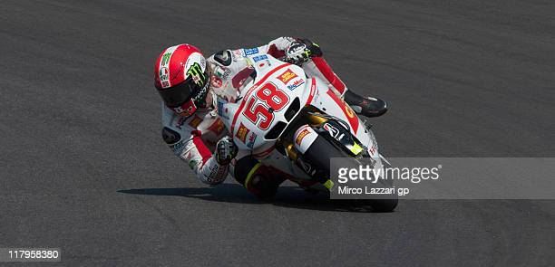 Marco Simoncelli of Italy and San Carlo Honda Gresini rounds the bend during the free practice of MotoGP of Italy at Mugello Circuit on July 2 2011...