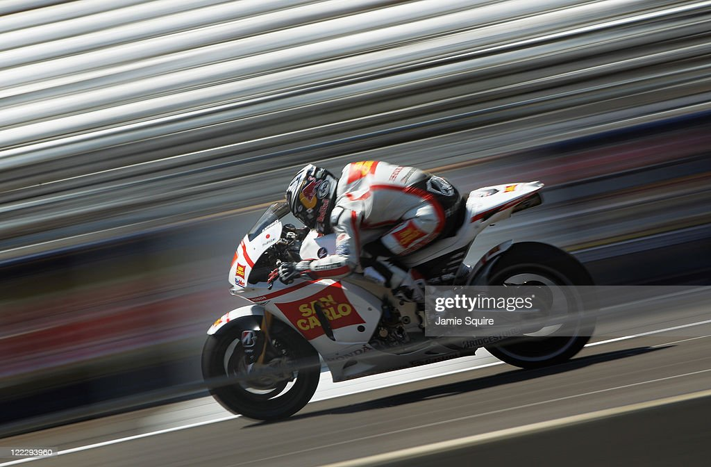Marco Simoncelli #58 of Italy in action during Moto GP qualifying at Indianapolis Motorspeedway on August 27, 2011 in Indianapolis, Indiana.