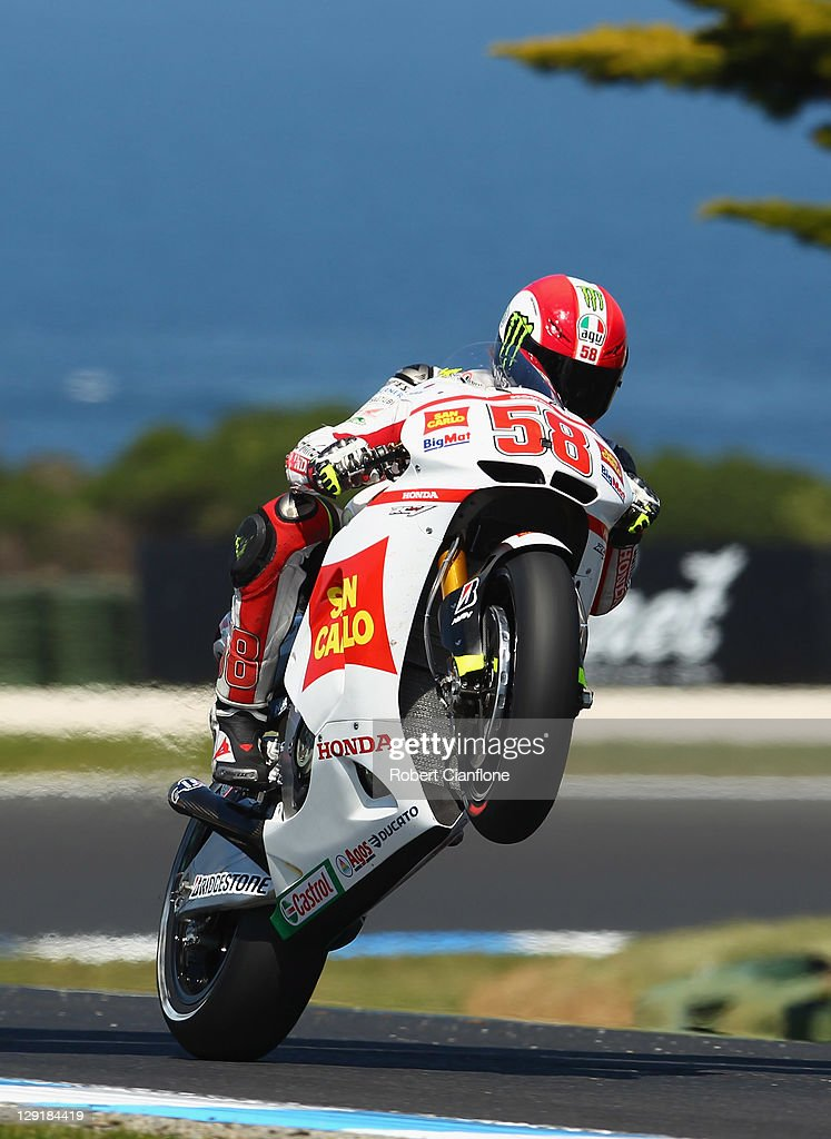 Marco Simoncelli of Italy rides the San Carlo Honda Gresini Honda during practice for the Australian MotoGP, which is round 16 of the MotoGP World Championship, at Phillip Island Grand Prix Circuit on October 14, 2011 in Phillip Island, Australia.