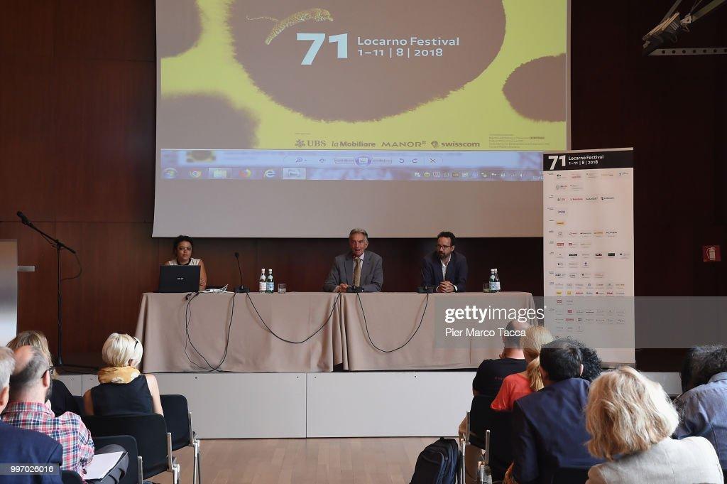 Marco Solari, President of Locarno Film Festival and Carlo Chatrian, Artistic Director of the Festival of the film Locarno attend the 2018 Locarno Film Festival Press Conference at Centro Svizzero on July 12, 2018 in Milan, Italy.