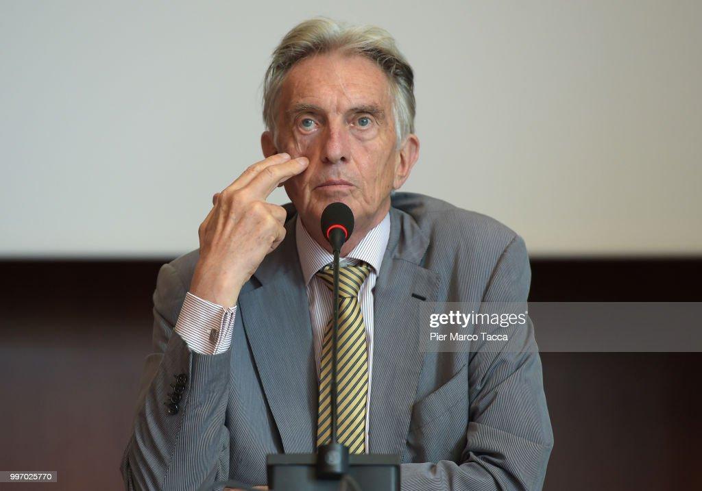 Marco Solari, President of Locarno Film Festival attends the 2018 Locarno Film Festival Press Conference at Centro Svizzero on July 12, 2018 in Milan, Italy.