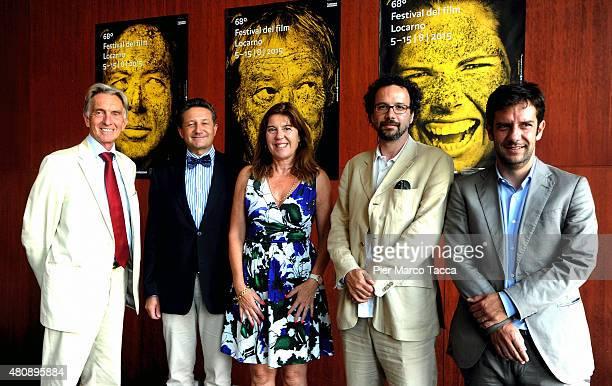 Marco Solari President of Locarno Film Festival Massimo Baggi Swiss Consul in Milan Nadia Dresti Carlo Chatrian Artistic Director and Mario Timbal...