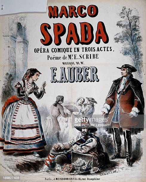 Marco Spada opera comique in three acts composed by Daniel Francois Esprit Auber and written by Eugene Scribe poster France 19th century Paris Hôtel...