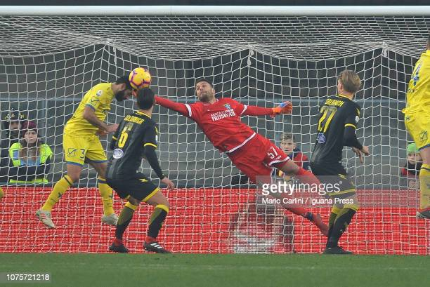 Marco Sportiello goalkeeper of Frosinone Calcio saves his goal during the Serie A match between Chievo Verona and Frosinone Calcio at Stadio...