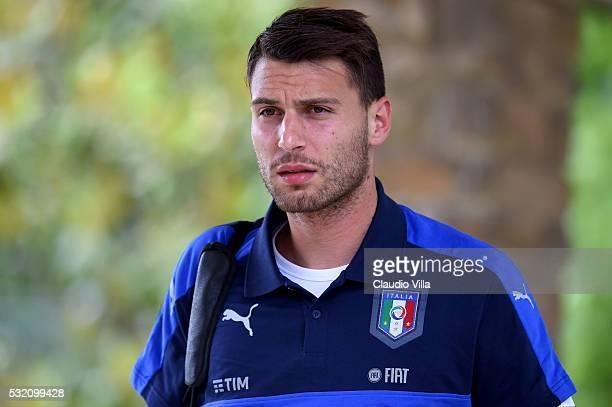 Marco Sportiello looks on prior to the Italy training session at the club's training ground at Coverciano on May 18 2016 in Florence Italy