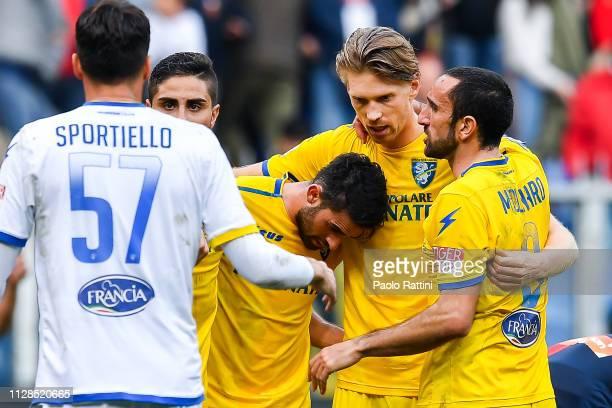 Marco Sportiello Marco Capuano Luca Paganini Bartosz Salamon and Cristian Molinaro of Frosinone celebrate after the Serie A match between Genoa CFC...