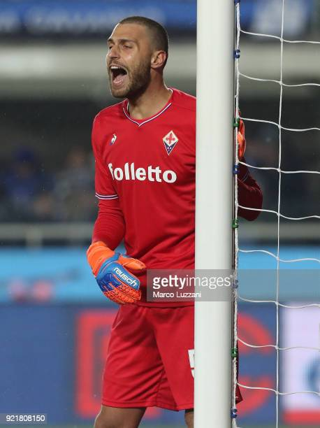 Marco Sportiello of ACF Fiorentina directs his defense during the serie A match between Atalanta BC and ACF Fiorentina at Stadio Atleti Azzurri...