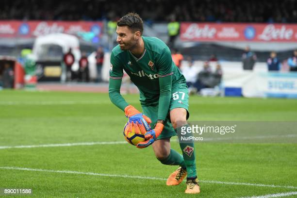 Marco Sportiello of ACF Fiorentina during the Serie A TIM match between SSC Napoli and ACF Fiorentina at Stadio San Paolo Naples Italy on 10 December...