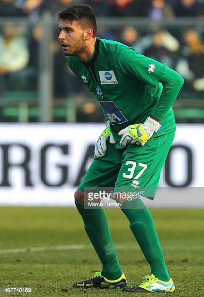 Marco Sportiello of Atalanta BC in action during the Serie A match between Atalanta BC and Calcio Catania at Stadio Atleti Azzurri d'Italia on...
