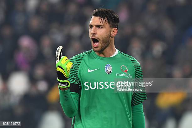 Marco Sportiello of Atalanta BC reacts during the Serie A match between Juventus FC and Atalanta BC at Juventus Stadium on December 3 2016 in Turin...