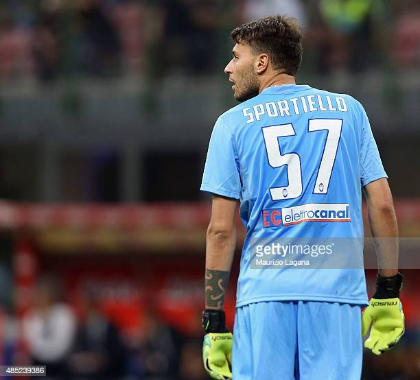 Marco Sportiello of Atalanta during the Serie A match between FC Internazionale Milano and Atalanta BC at Stadio Giuseppe Meazza on August 23 2015 in...