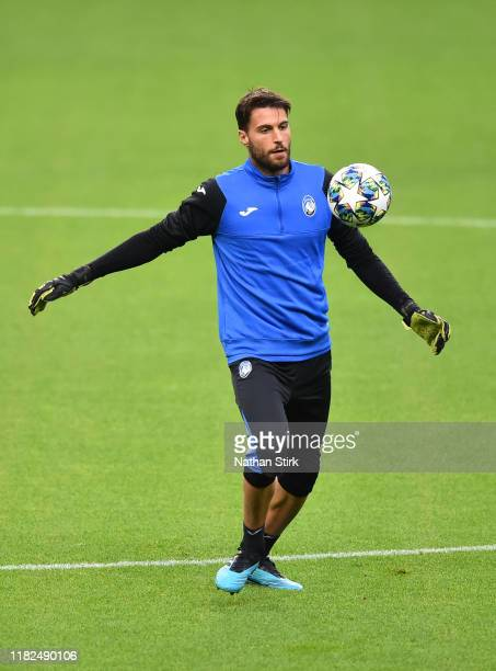 Marco Sportiello of Atalanta in action during a training session ahead of the UEFA Champions League Group C match against Manchester City at Etihad...