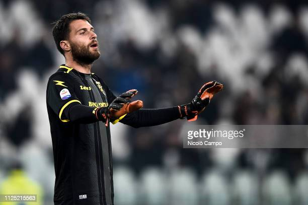 Marco Sportiello of Frosinone Calcio gestures during the Serie A football match between Juventus FC and Frosinone Calcio Juventus FC won 30 over...