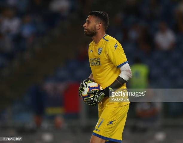 Marco Sportiello of Frosinone Calcio in action during the serie A match between SS Lazio and Frosinone Calcio at Stadio Olimpico on September 2 2018...