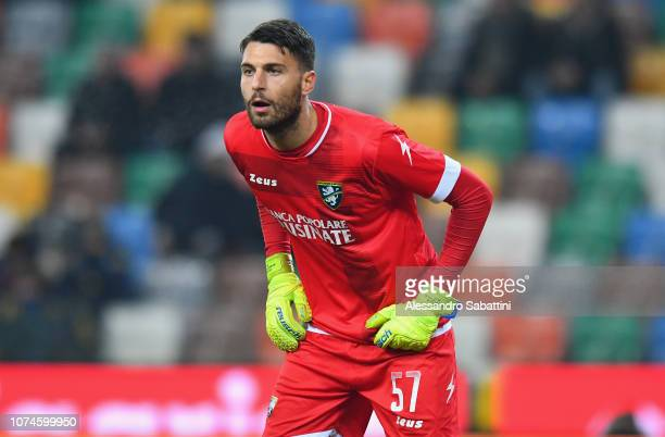 Marco Sportiello of Frosinone Calcio looks on during the Serie A match between Udinese and Frosinone Calcio at Stadio Friuli on December 22 2018 in...