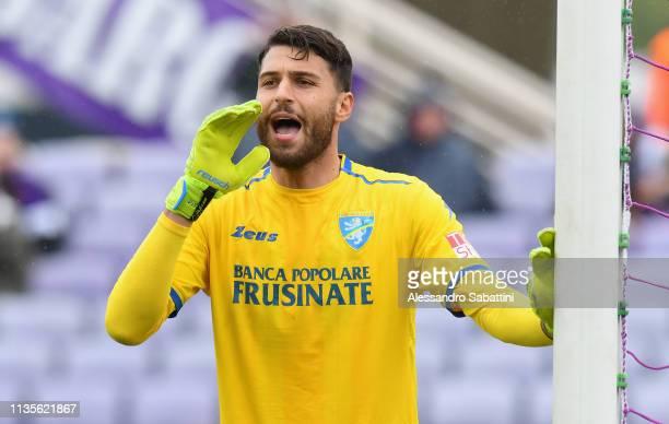 Marco Sportiello of Frosinone Calcio reacts during the Serie A match between ACF Fiorentina and Frosinone Calcio at Stadio Artemio Franchi on April 7...