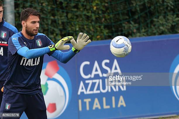 Marco Sportiello of Italy during a training session at Coverciano on November 22 2016 in Florence Italy