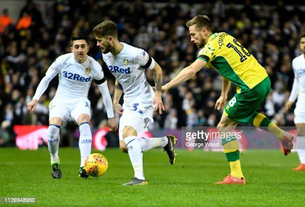 Marco Stiepermann of Norwich City and Mateusz Klich of Leeds United compete for the ball during the Sky Bet Championship match between Leeds United...