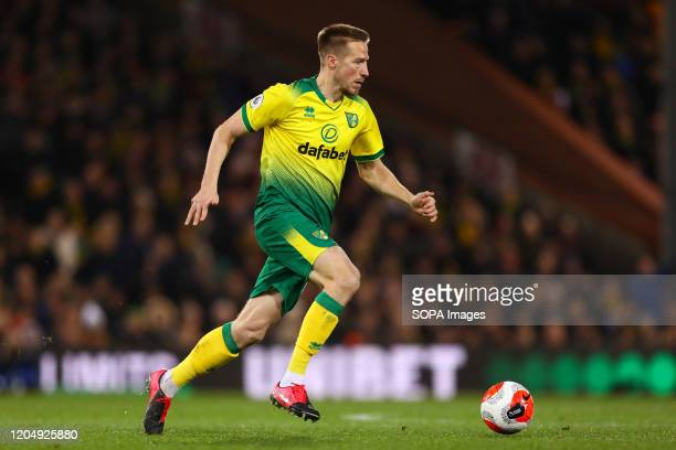 Marco Stiepermann of Norwich City in action during the Premier League match between Norwich City and Leicester City at Carrow Road Final Score...