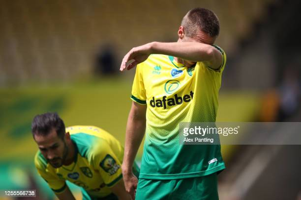 Marco Stiepermann of Norwich City reacts during the Premier League match between Norwich City and West Ham United at Carrow Road on July 11, 2020 in...