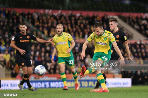 Marco Stiepermann of Norwich scores to make it 10 during the Sky Bet Championship match between Norwich City and Hull City at Carrow Road on March 13...