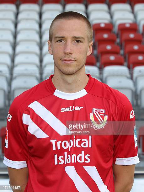 Marco Stiepermann poses during the FC Energie Cottbus team presentation at Stadion der Freundschaft on June 28, 2013 in Cottbus, Germany.
