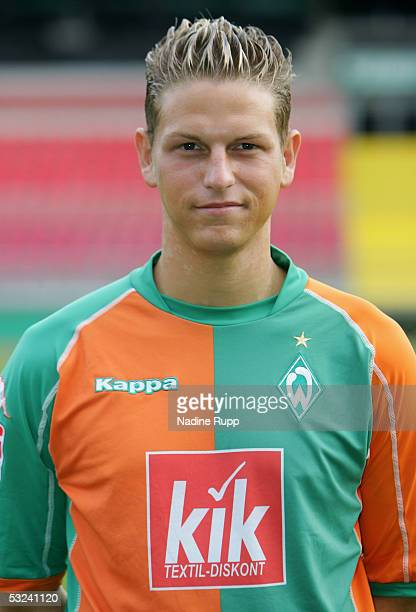 Marco Stier poses during the team presentation of Werder Bremen for the Bundesliga season 2005 2006 on July 15 2005 in Bremen Germany