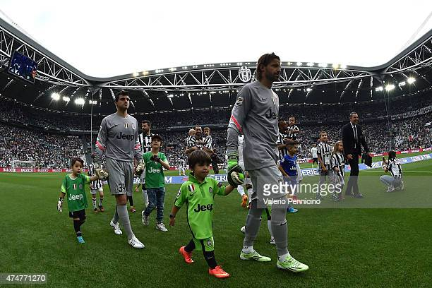 Marco Storari and Rubens Fernando of Juventus FC prior to the Serie A match between Juventus FC and SSC Napoli at Juventus Arena on May 23 2015 in...