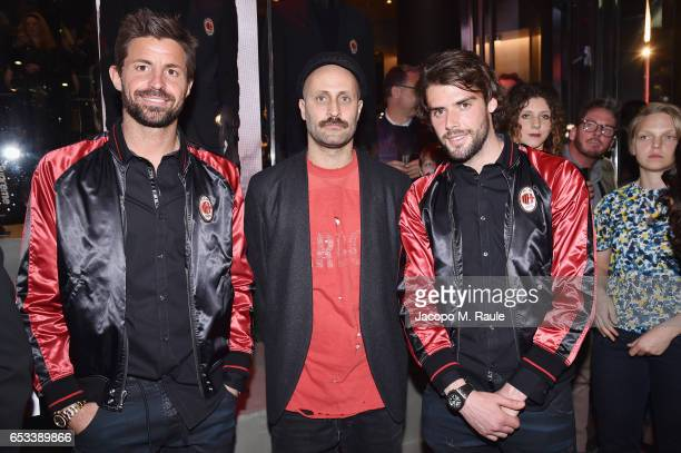 Marco Storari Andrea Rosso and Andrea Poli attend The New Bomber Presentation at the Diesel Store on March 14 2017 in Milan Italy