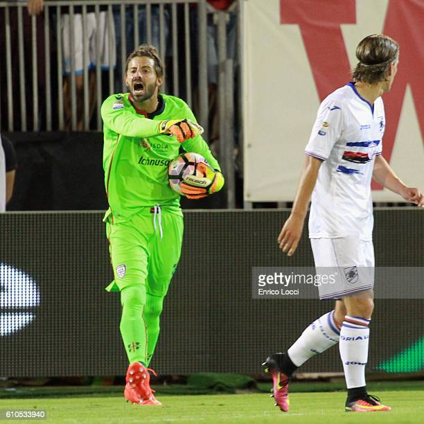 Marco Storari of Cagliari reacts during the Serie A match between Cagliari Calcio and UC Sampdoria at Stadio Sant'Elia on September 26 2016 in...