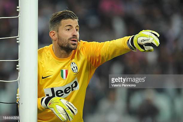 Marco Storari of FC Juventus issues instructions during the Serie A match between FC Juventus and SSC Napoli at Juventus Arena on October 20 2012 in...