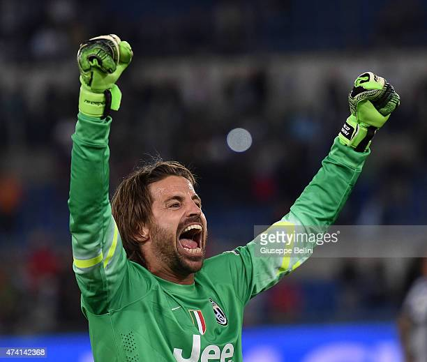 Marco Storari of Juventus celebrates the victory after the TIM Cup final match between SS Lazio and Juventus FC at Olimpico Stadium on May 20 2015 in...