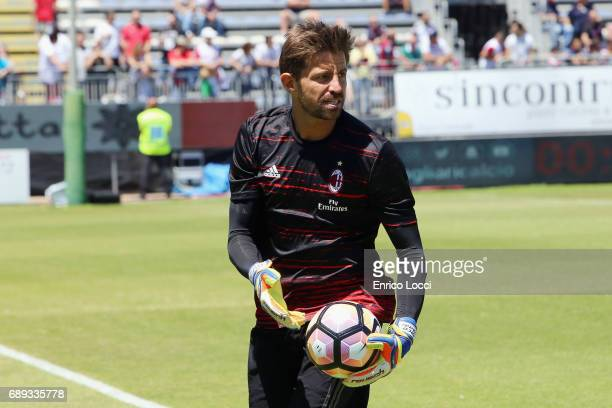 MArco Storari of Milan in action during the Serie A match between Cagliari Calcio and AC Milan at Stadio Sant'Elia on May 28 2017 in Cagliari Italy