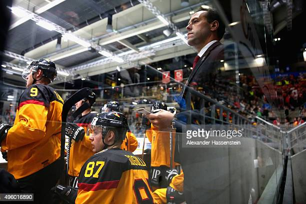 Marco Sturm head coach of Germany looks on during match 2 of the Deutschland Cup 2015 between Germany and Switzerland at CurtFrenzelStadion on...